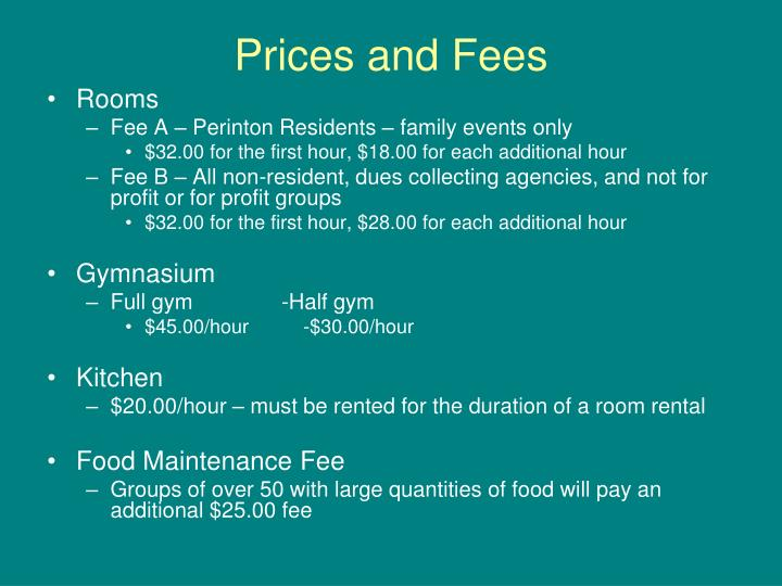 Prices and fees