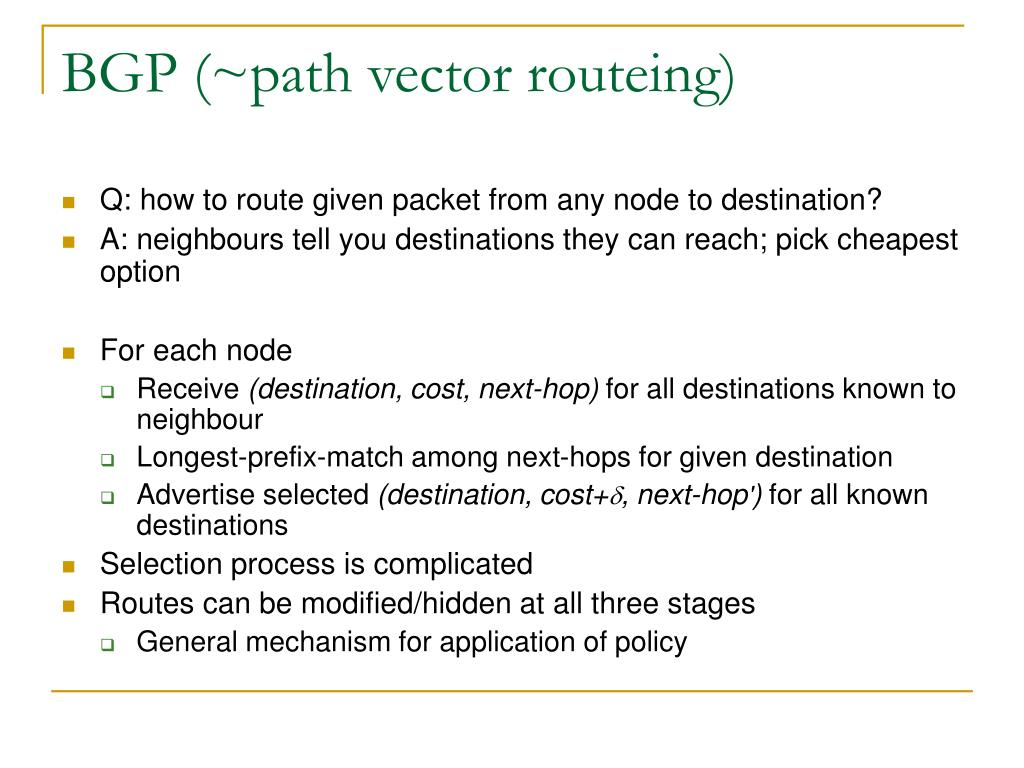 BGP (~path vector routeing)