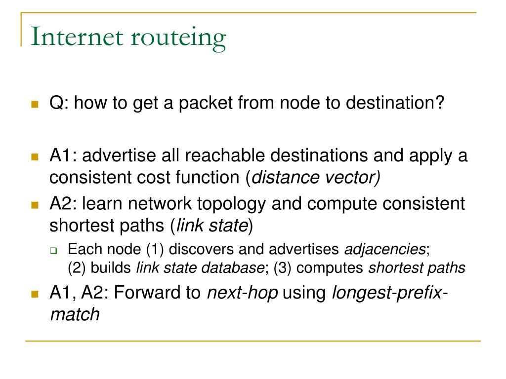 Internet routeing