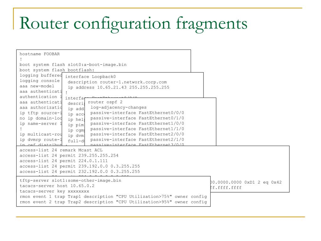 Router configuration fragments