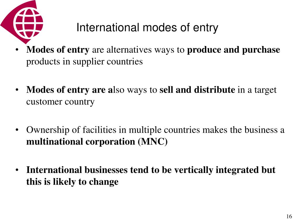 International modes of entry