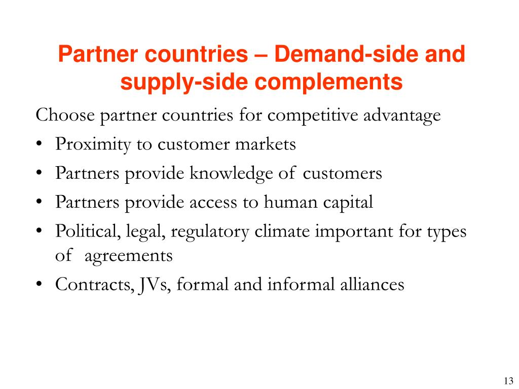 Partner countries – Demand-side and