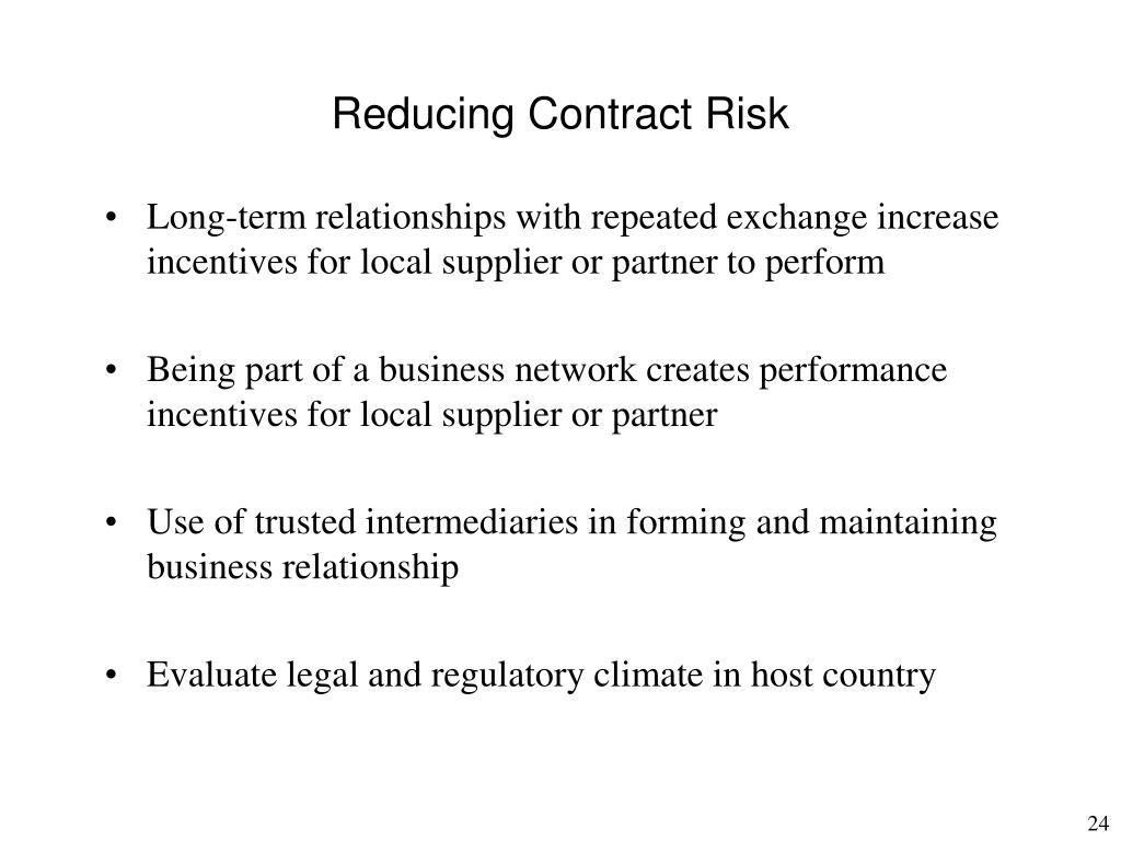 Reducing Contract Risk