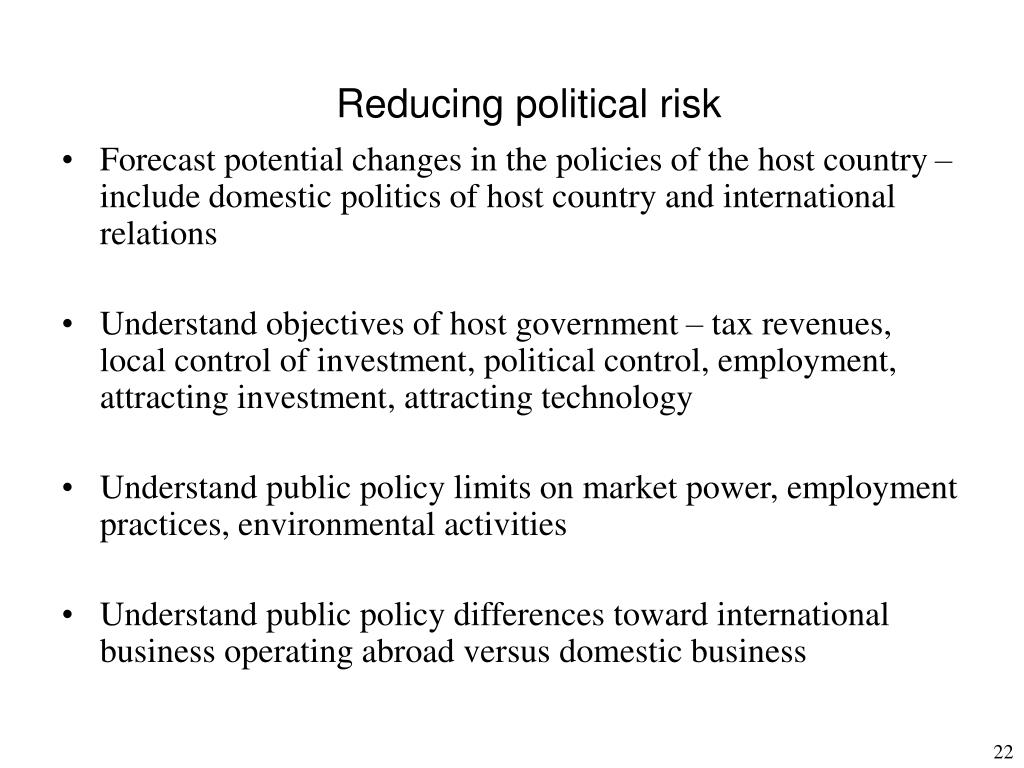 Reducing political risk