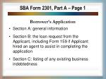 sba form 2301 part a page 1