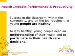 health impacts performance productivity