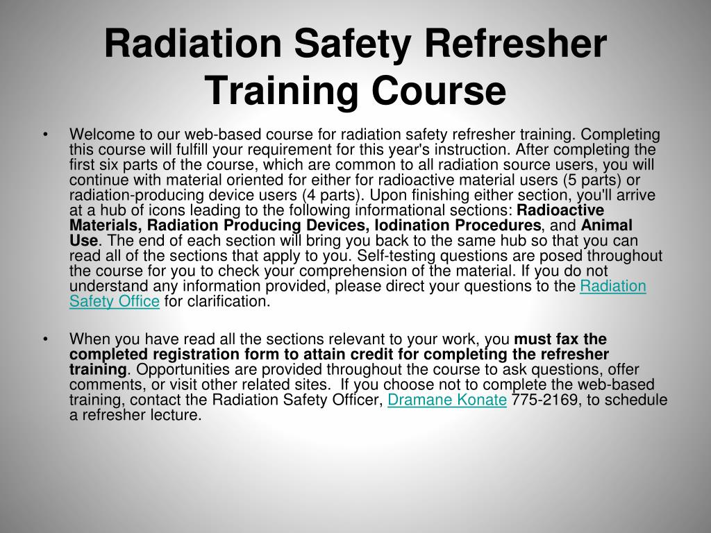 radiation safety refresher training course l.