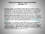 radioactive material usage and waste section 11