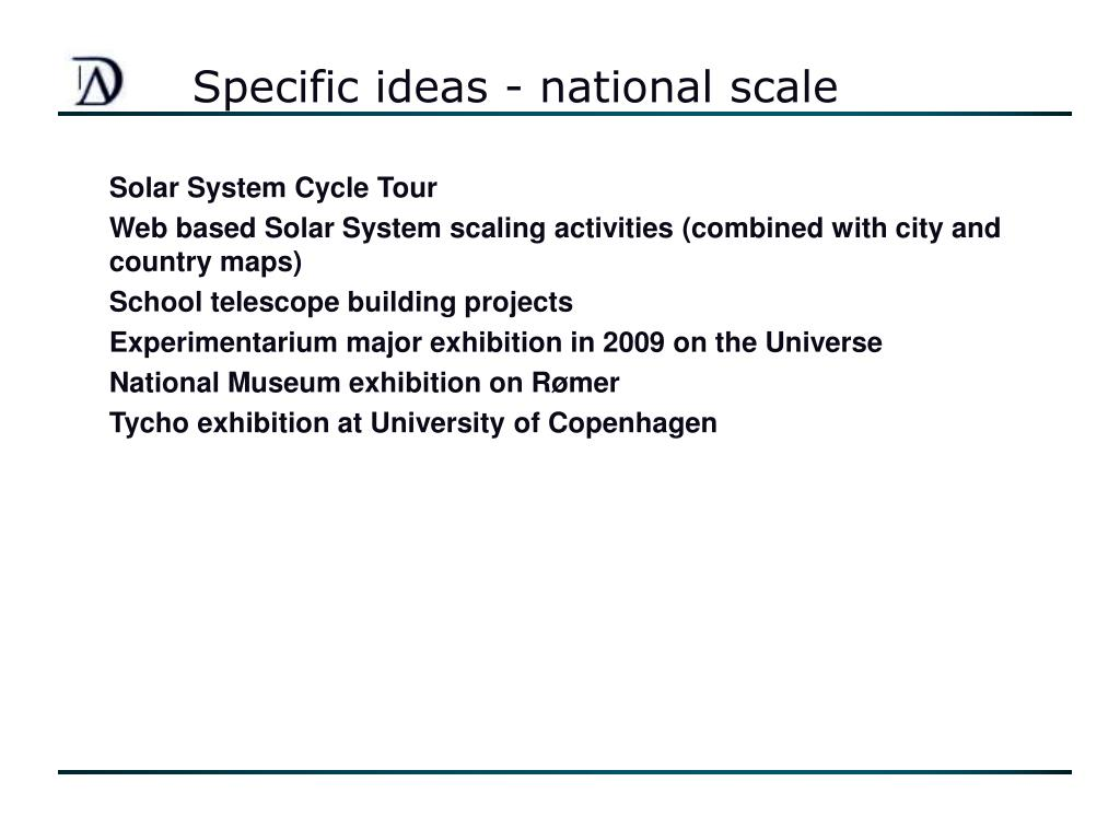 Specific ideas - national scale