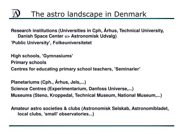 The astro landscape in denmark