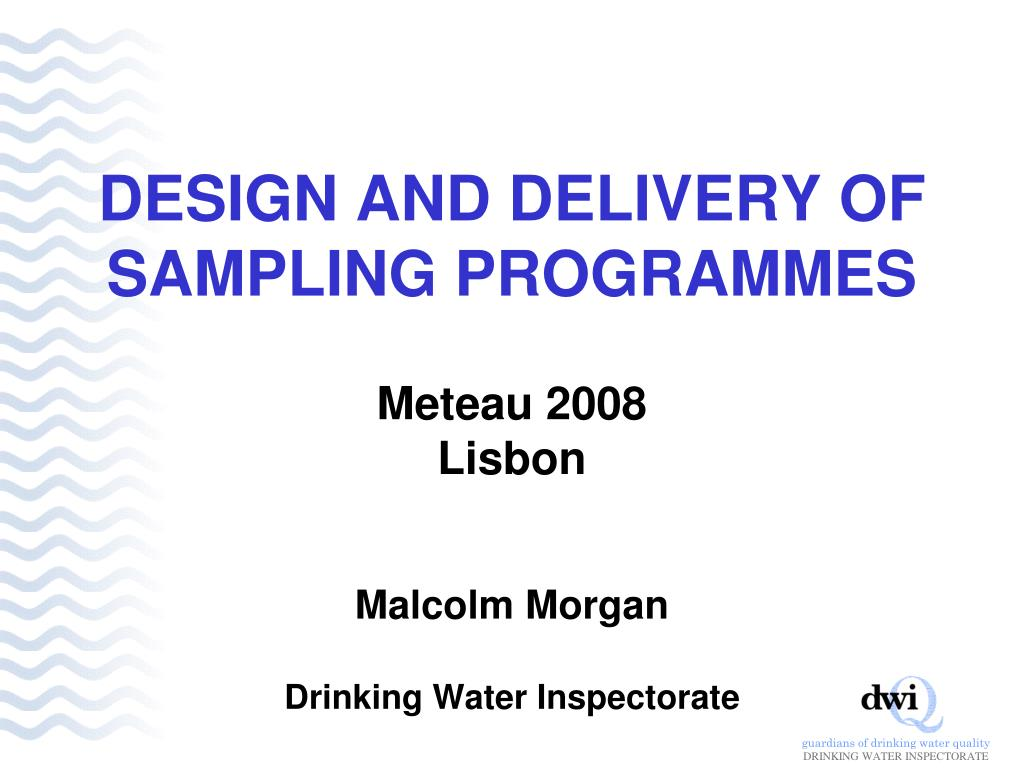 design and delivery of sampling programmes l.