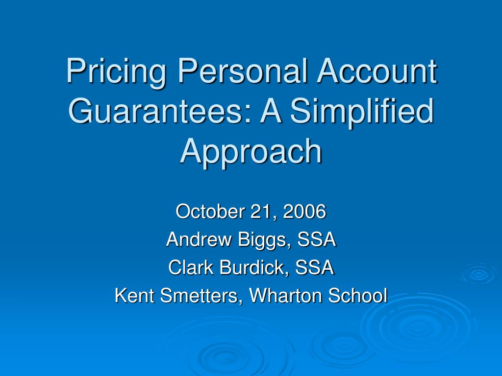 pricing personal account guarantees a simplified approach l.