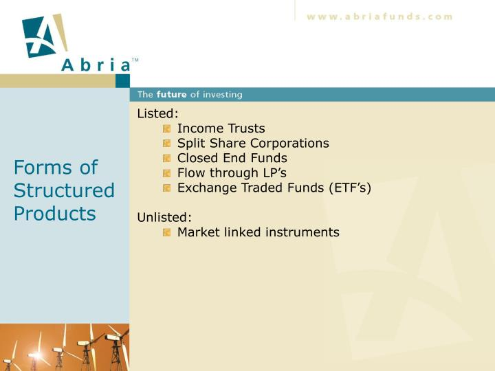 Forms of structured products