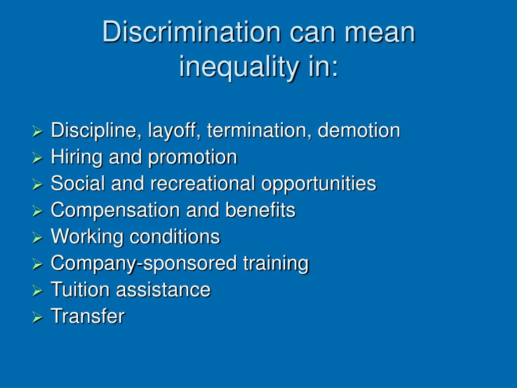 Discrimination can mean