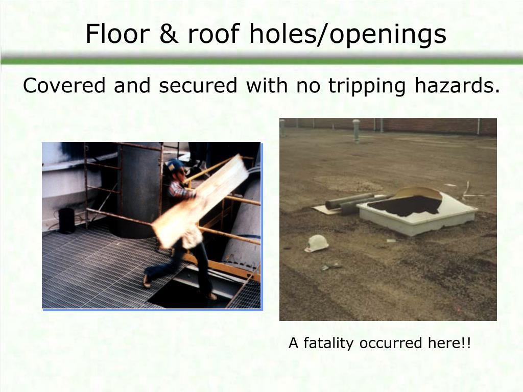 Floor & roof holes/openings