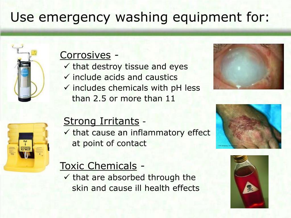 Use emergency washing equipment for: