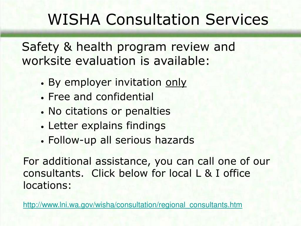 WISHA Consultation Services