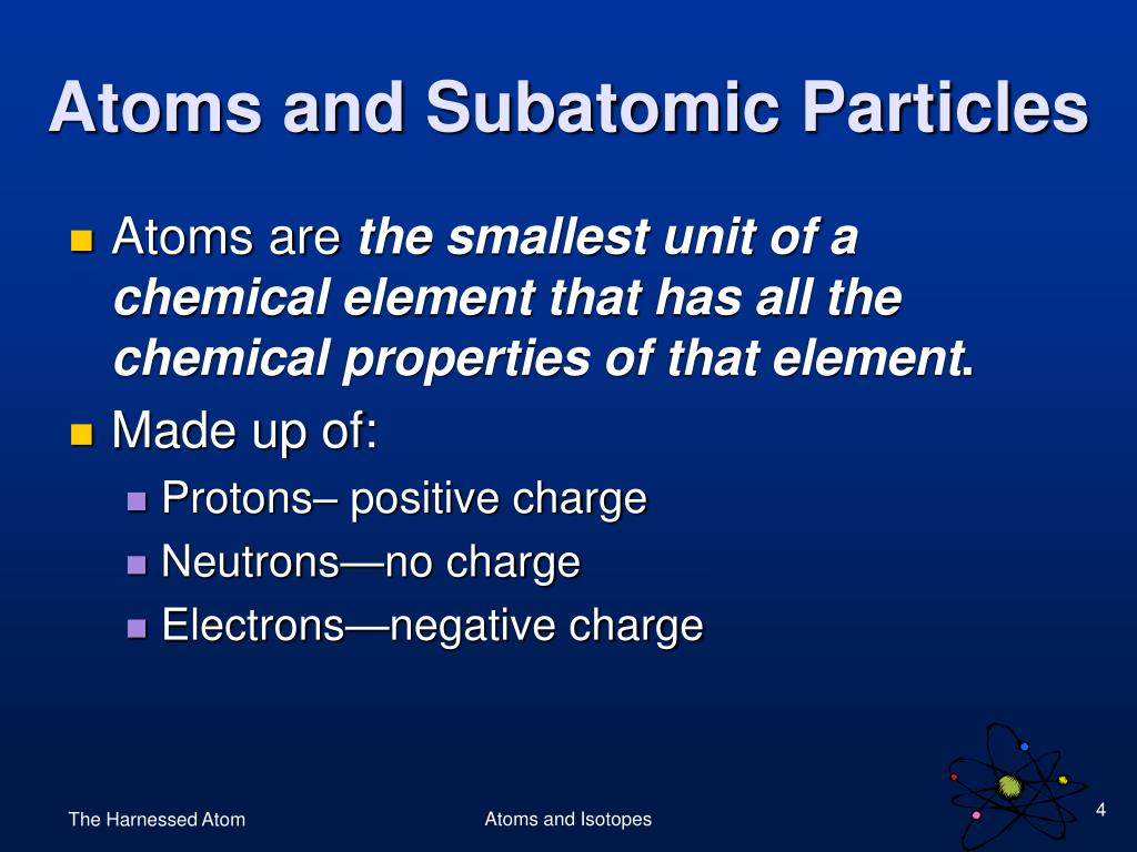 Atoms and Subatomic Particles