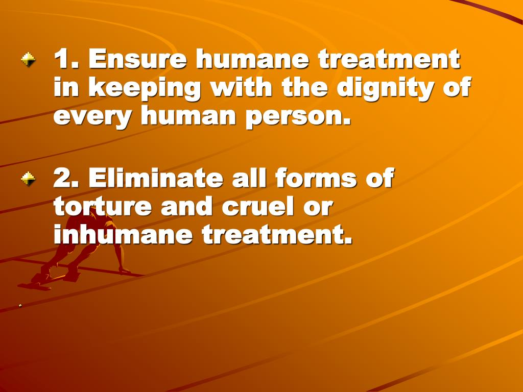 1. Ensure humane treatment in keeping with the dignity of every human person.