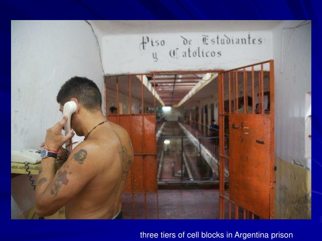 three tiers of cell blocks in Argentina prison