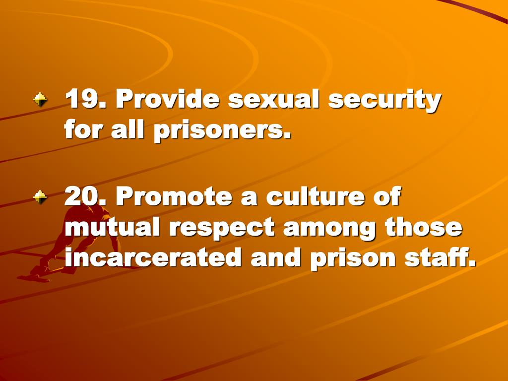 19. Provide sexual security for all prisoners.