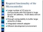 required functionality of the microcontroller