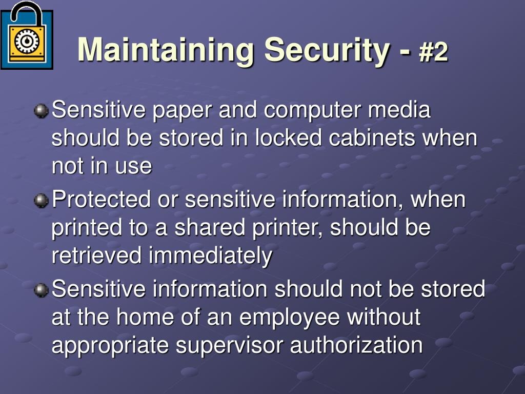 Maintaining Security -