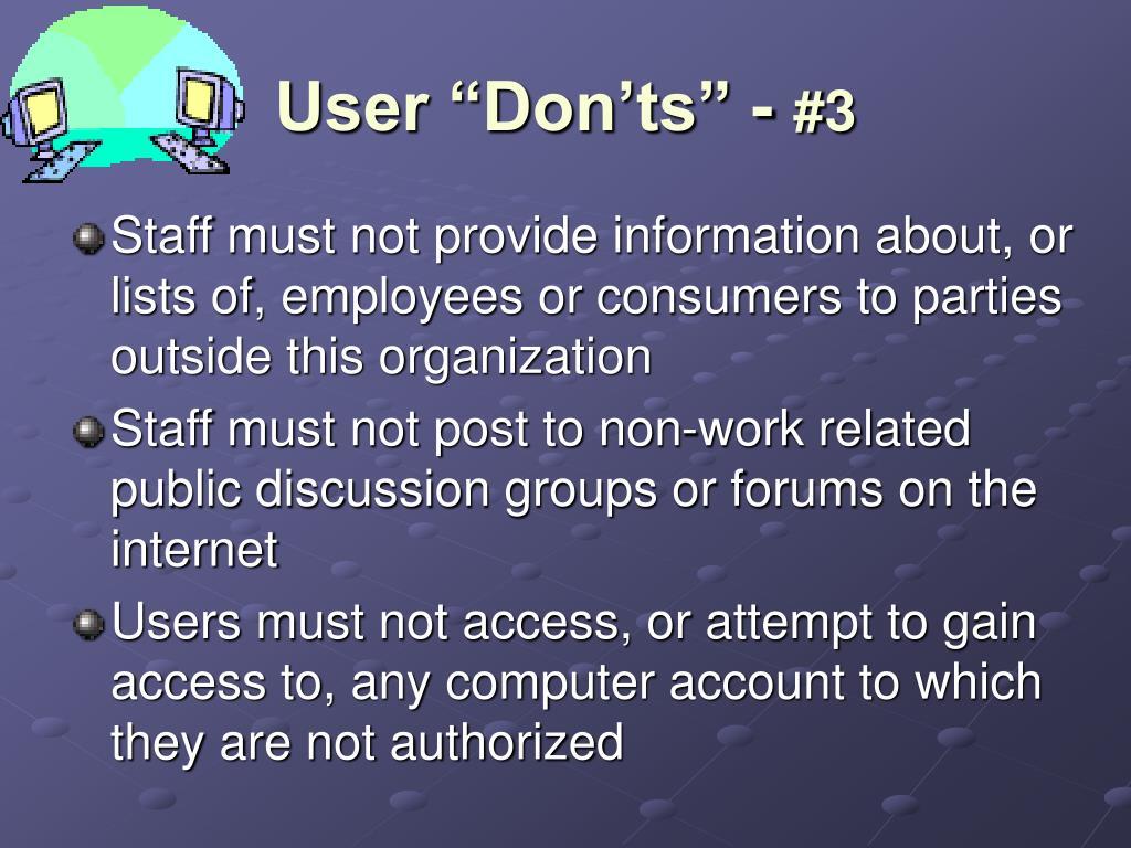 "User ""Don'ts"" -"