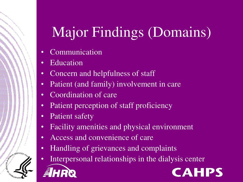 Major Findings (Domains)