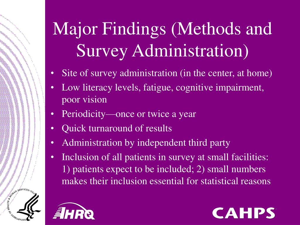 Major Findings (Methods and Survey Administration)
