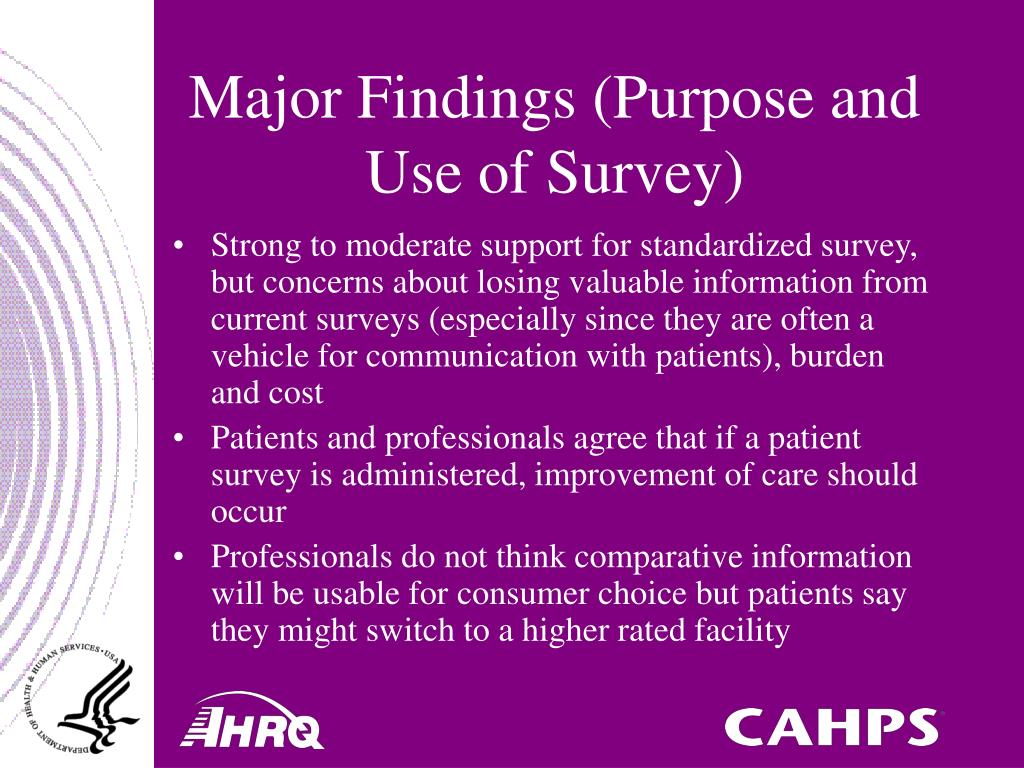 Major Findings (Purpose and Use of Survey)