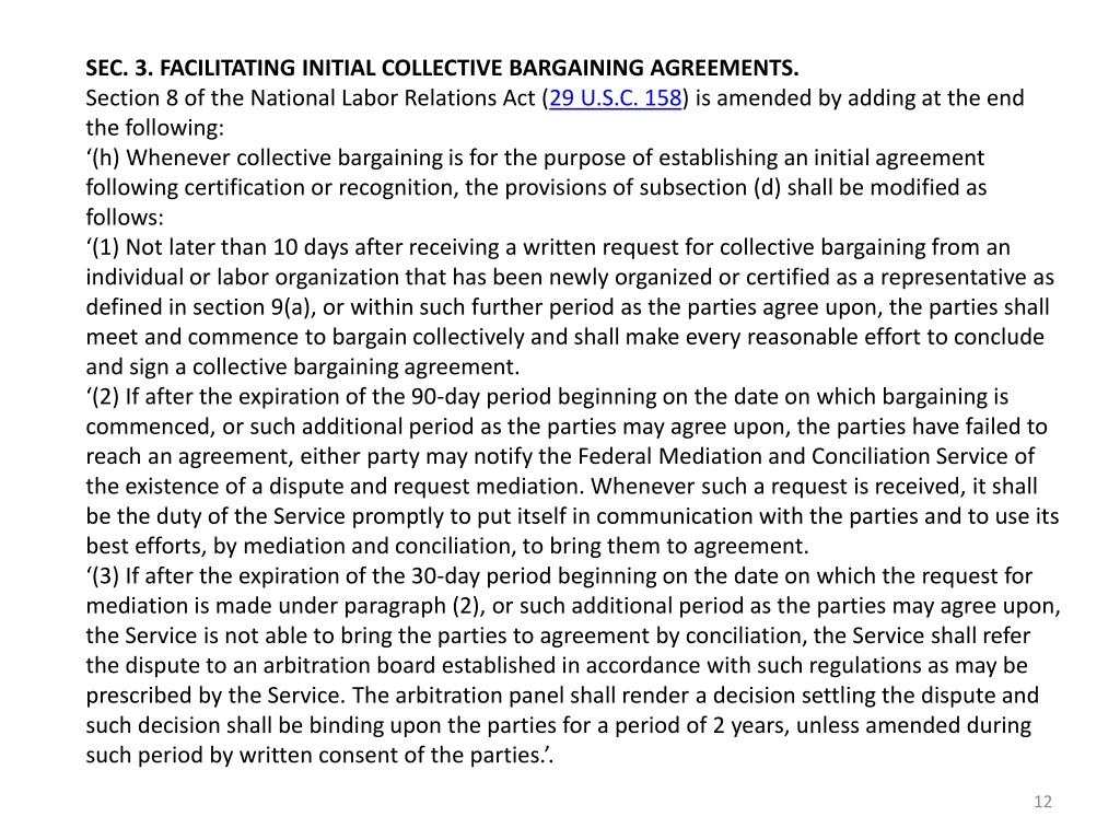 SEC. 3. FACILITATING INITIAL COLLECTIVE BARGAINING AGREEMENTS.