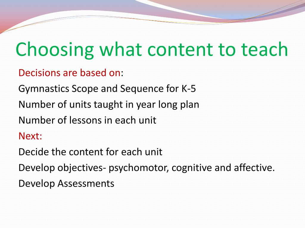Choosing what content to teach