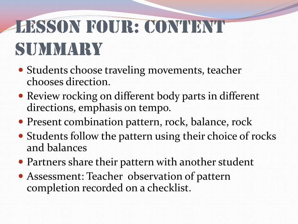 Lesson Four: Content Summary