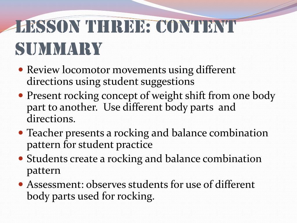 Lesson Three: Content Summary