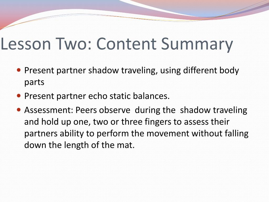 Lesson Two: Content Summary