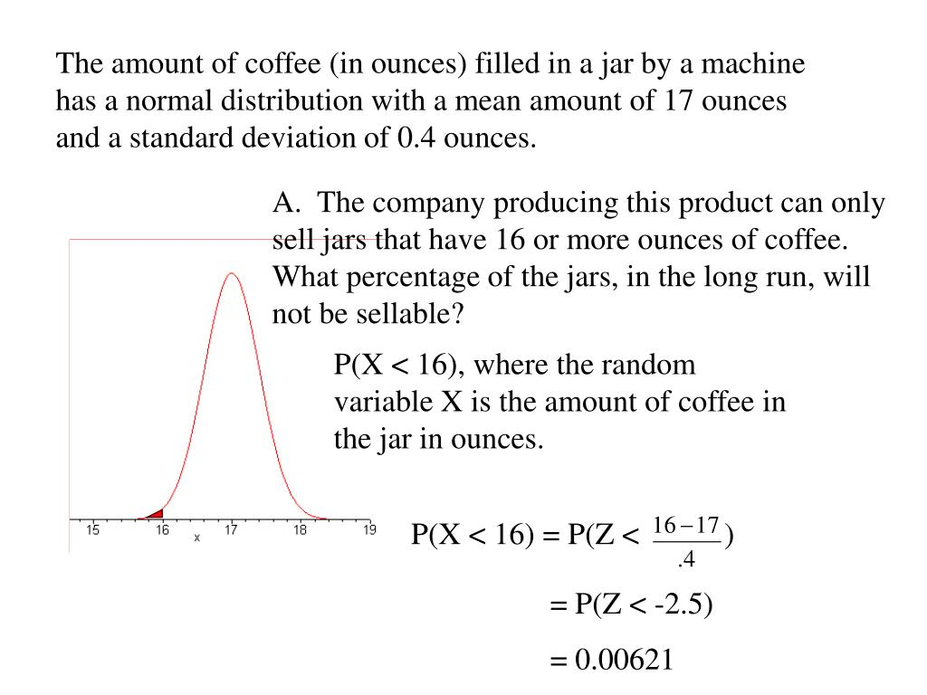 The amount of coffee (in ounces) filled in a jar by a machine has a normal distribution with a mean amount of 17 ounces and a standard deviation of 0.4 ounces.