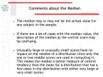 comments about the median