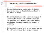 variability the standard deviation
