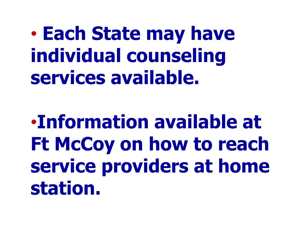 Each State may have individual counseling services available.