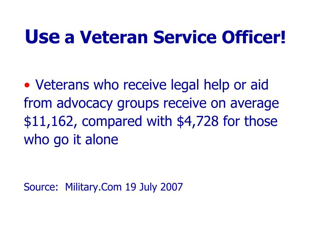 Veterans who receive legal help or aid