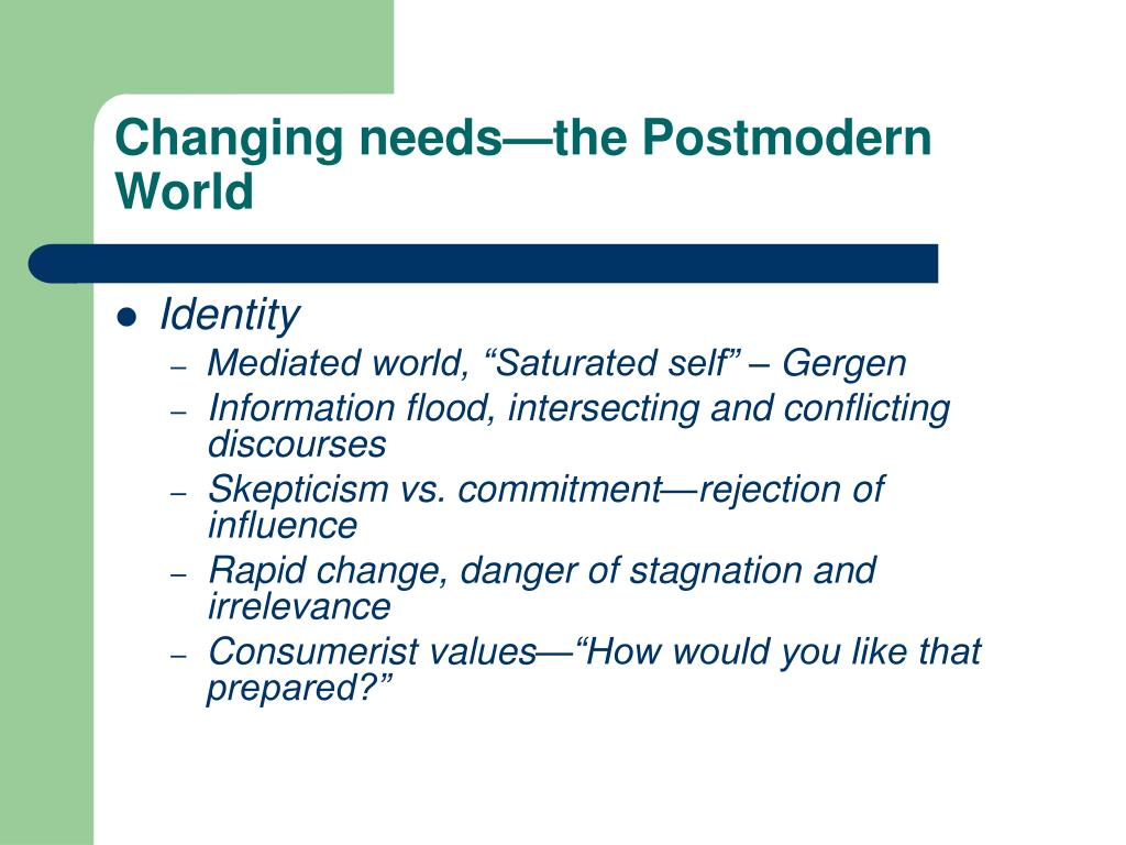 Changing needs—the Postmodern World