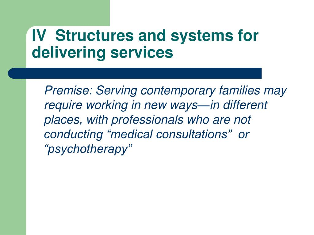 IV  Structures and systems for delivering services