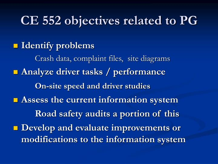 Ce 552 objectives related to pg