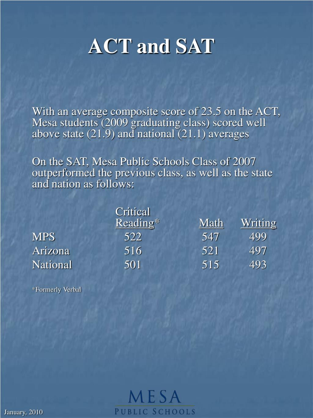 ACT and SAT