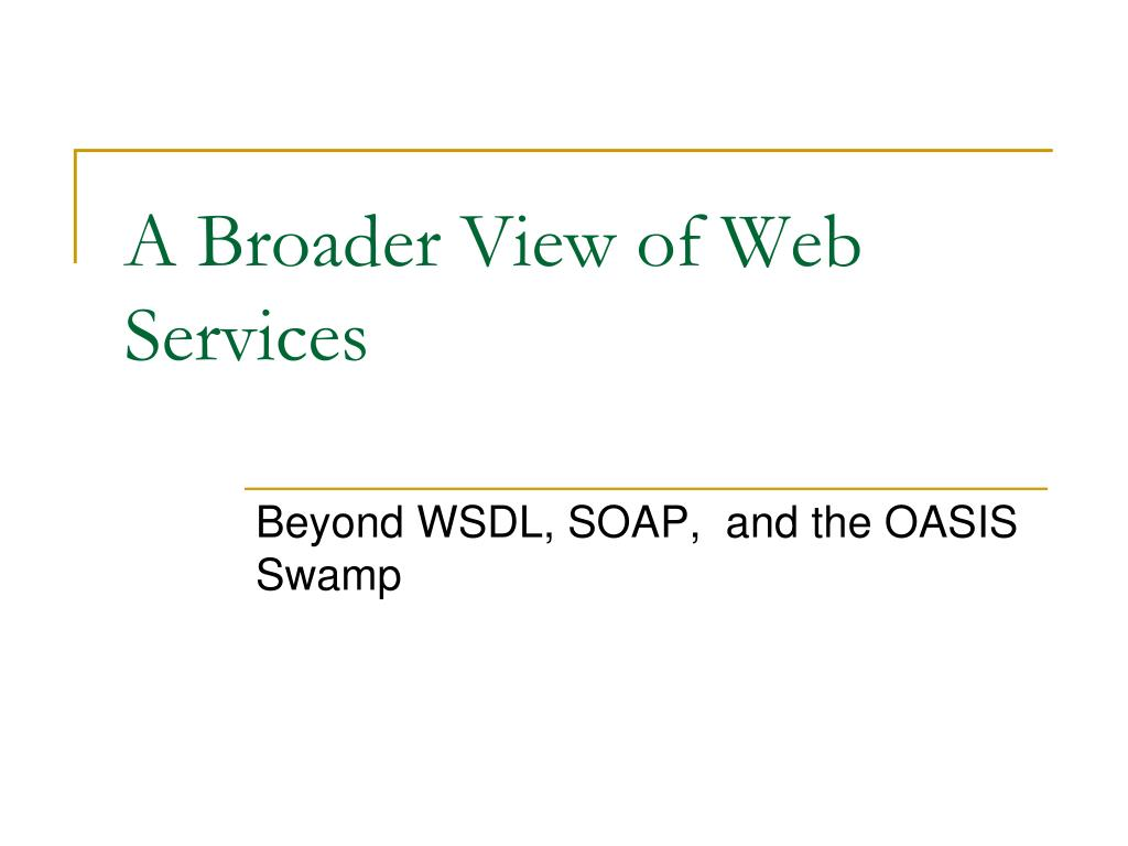 A Broader View of Web Services