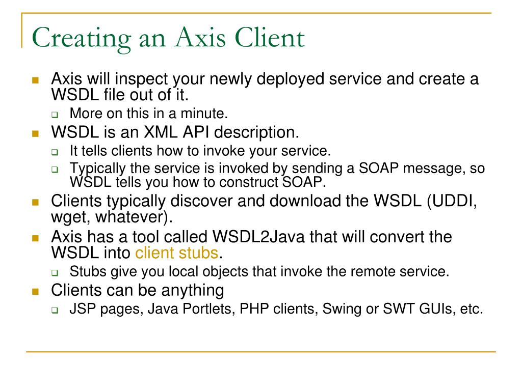 Creating an Axis Client