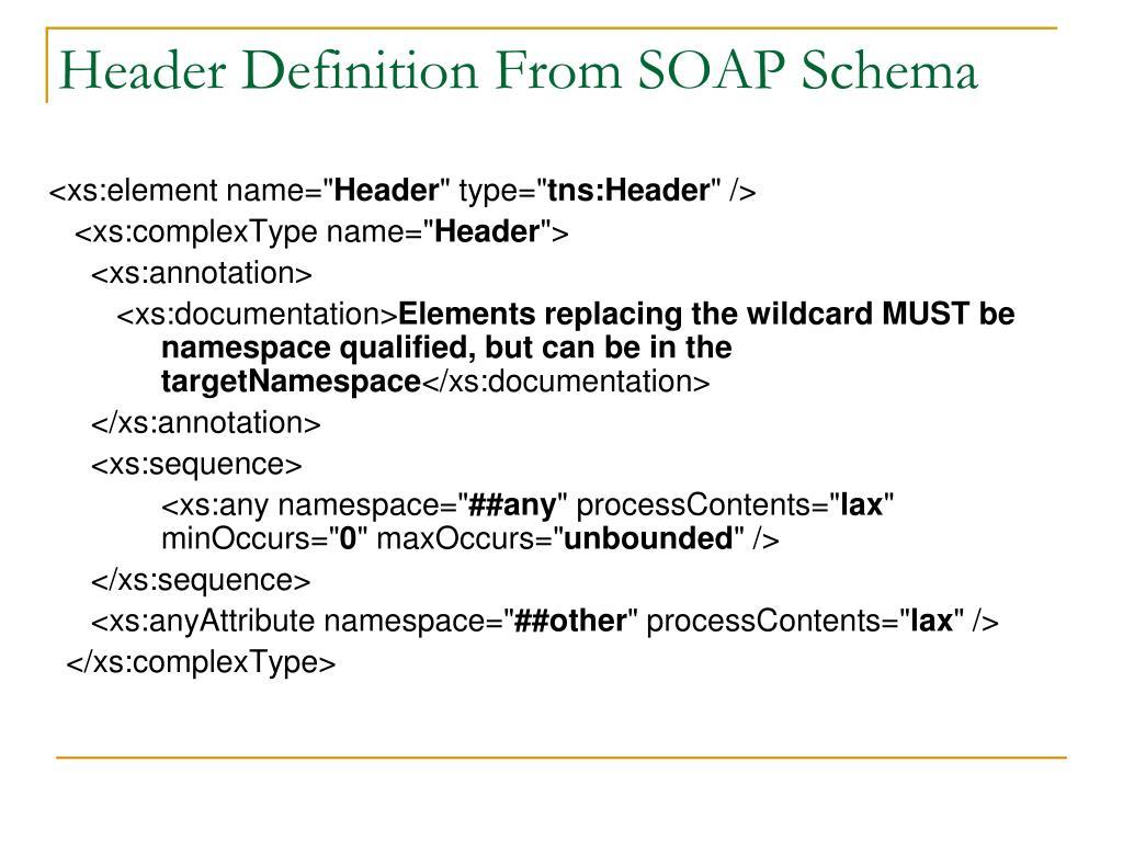 Header Definition From SOAP Schema