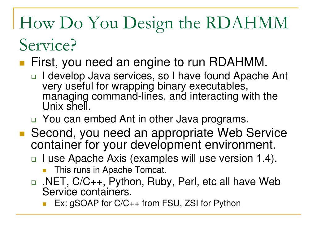 How Do You Design the RDAHMM Service?