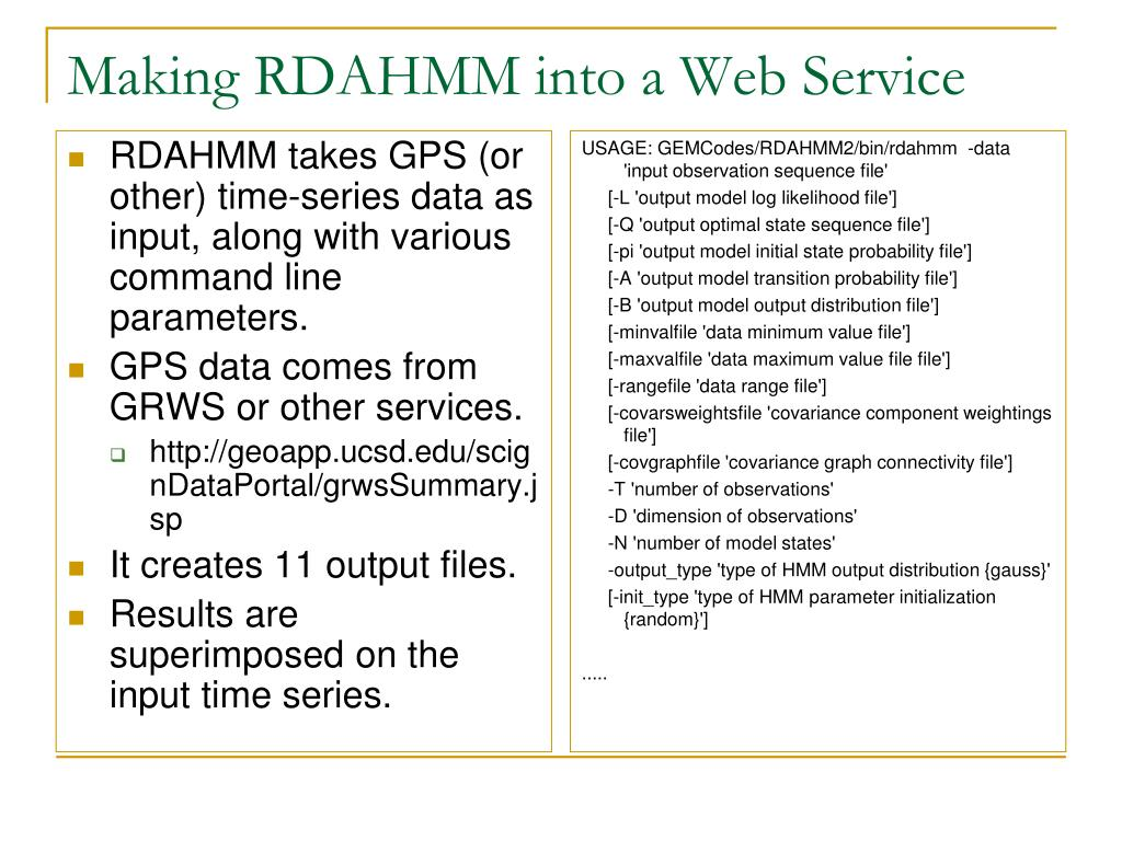 Making RDAHMM into a Web Service